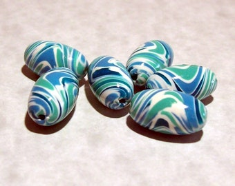 Polymer Clay Beads - Shades of Blue, Blue Green and White Swirled Oval Handmade Beads