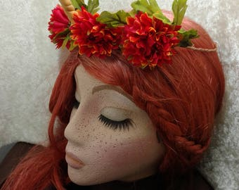 Unicorn Horn Crown with Autumn Flowers