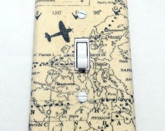 Planes and Maps Light Switch Plate Cover / Outlet Cover / Bedroom / Home Decor / Housewarming Gift / Nursery Decor / Kid's Room / Airplane