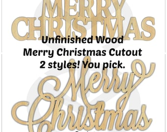 Merry Christmas - 01655- Unfinished Wood  Laser Cutout, Wreath Accent, Door Hanger, Ready to Paint & Personalize, Various Sizes