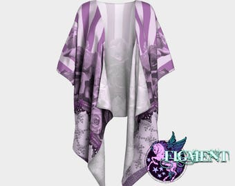 Boho Purple Floral Kimono - Chiffon or Knit -Purple Kimono, Purple Cover Up, Purple Sweater, Boho Kimono, Striped Kimono, Gifts for Her