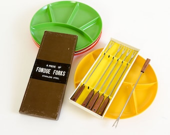 Vintage 1960s Fondue Fork Set / Japan Stainless Rosewood Handle Fondue Fork Set of 6 in Box VGC MidCentury Dining Entertaining Fondue Party