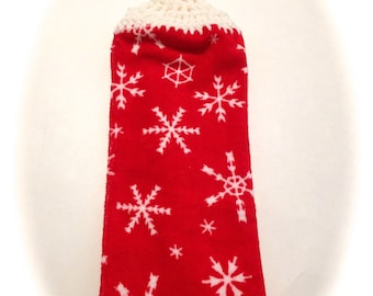 Snowflakes Hand Towel With White Crocheted Top