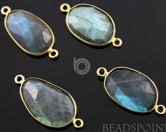 Natural Labradorite Faceted Bezel Connector, 24K Gold Vermeil Over Sterling Silver, Incredible Blue Fire 10x14mm, 1 Piece, (LABC020-C)