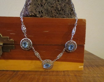 Intricate Art Deco Silver Filigree and Ice Blue Stone Necklace with Paper Clip Chain Something Blue for your Wedding