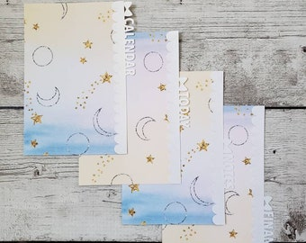 Planner Dividers - Bow Tabs -  Galaxy Scalloped Dividers - Planner Accessory - Pocket, Field Notes, Personal, B6 Slim, Standard, A5