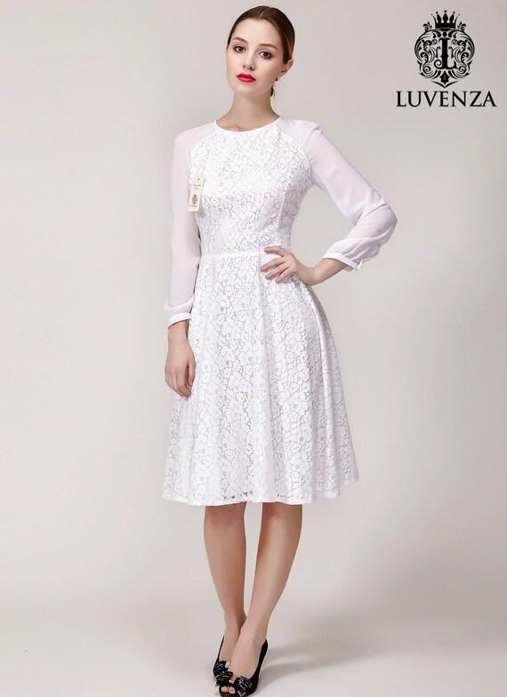 Weißer Spitze Kleid Spitze Mini Kleid mit Raglanärmeln Fit