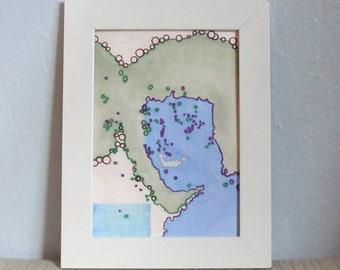 Abstract Art Face Blue Green with Block Print 5 x 7 Digital Art Print