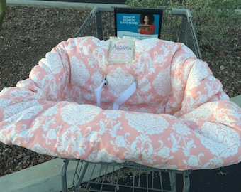Embroidered, personalized, shopping cart cover with damask fabric
