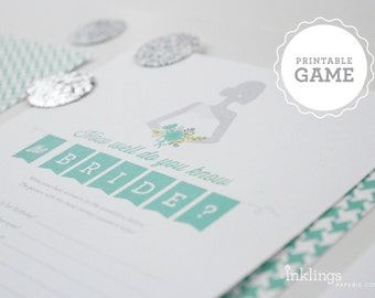 """Printable """"How Well Do You Know The Bride?"""" Game // Party Game, Shower Game, Bridal Shower, Wedding Shower Game // Choose your color"""