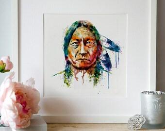 Sitting Bull watercolor painting, instant download, native american art, Indian chief,wall art,square print,splatter,aquarelle,printable art