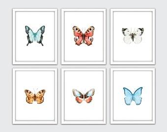 Butterfly Wall Art, Set Of 6, Butterfly Nursery Art, Butterfly Poster, Butterfly Print, Watercolor Butterfly Art, Boho Dorm Room Decor