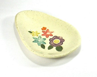 Ceramic Spoon Rest / Trinket Dish - Spring Flower Bouquet Spoon Rest, Tear Drop Egg Shape (OOAK Ceramic Small Plate, Jewelry or Ring Holder)