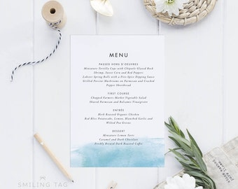 Printable Wedding Menu Printable - Watercolor Beach Wedding Menu Download - Printable Menu PDF - Letter or A4 Size (Item code: P449)