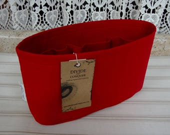 Size SMALL / 10.5 x 3.5 x 6H oval / Ready to ship / Purse ORGANIZER Insert Shaper / Red / STURDY & Durable / Choice of bottom type