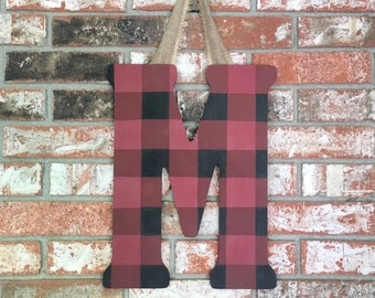 Buffalo Checker Letter, buffalo checker print, Red and Black checker print, Gingham print, Farmhouse decor, Farmhouse style, painted letter