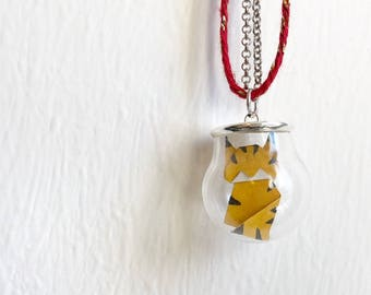 Origami Tiger necklace, origami pendant, glass globe pendant, origami in ampoule, glass pendant,
