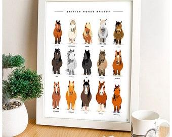 Horse Print, Horse Breeds, Horse Wall Art, Horse Gift, Horse Art, Farm Animals, Horse Lover gift, Horse Lover, Farmhouse Decor, Equine Art