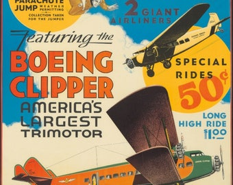 Airplane Rides - Boeing Clipper (artist: Anonymous) USA c. 1929 - Vintage Poster (Art Print - Multiple Sizes Available)