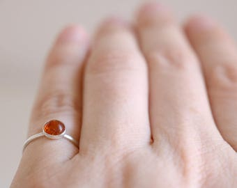 Amber Ring. Sterling silver ring with natural Amber cabochon. Amber band, orange Amber ring, silver amber ring, stacking ring, boho ring.