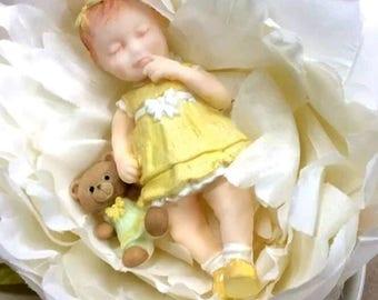 3D Sleeping Baby Girl Silicone Mold