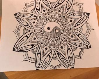 Original Black And White YinYang Drawing