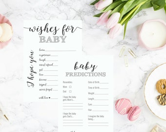 DIY PRINTABLE Baby Shower Game Set of 2 | Instant Download Baby Shower Printable | Wishes for Baby | Predictions for Baby | OB14