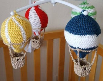 Custom Hot Air Balloon Crib Mobile - baby crib mobile, travel theme, baby shower gift