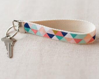Fabric Key Fob, Fabric Keychain | Unique Pastel Triangle Key Fob
