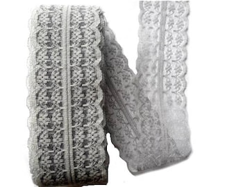 Gray lace detachable 45 mm wide sold by the yard