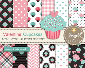 Valentine Cupcakes Digital papers and clipart, Hearts, valentine's Day, Baby Shower, Baby Baptism, Scrapbooking Paper