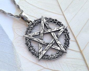 Pentagram Pendant.Wiccan Pendant.Wiccan Jewelry.Pentacle Pendant.Witch Pendant.Medieval Pendant.Silver Wiccan Pendant.Silver Pentacle.Witch