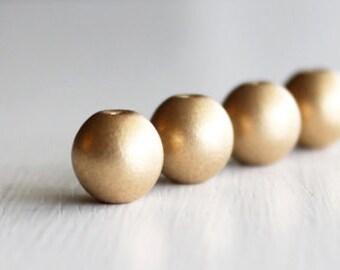 20 Matte Gold 10mm Czech Glass Druks, 10mm Glass Beads, 10mm Druks, Smooth Glass Beads, Matte Gold Beads,