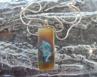 Gold Fused Glass Pendant with Navy Blue detail (Glass Reactions) Sterling Silver Chain