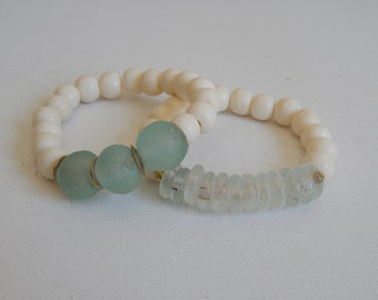 White bone beads with aqua blue recycled glass beads, beach chic, neutral, summer fashion, ocean inspired, stretch bracelet, brass beads