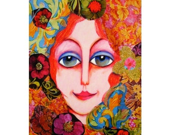 Of Another Time - Whimsical Woman Art Print, Collage Art, Girls Room Decor, Bedroom Decor, Mixed Media, Of Another Time by Paula DiLeo
