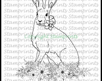 Hare with Daffodil (TLS-1819) Digital Stamp. Cardmaking.Scrapbooking.MixedMedia.