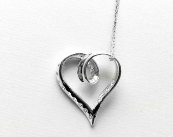 Vintage Sterling Silver Heart and Crystal Necklace- stamped .925