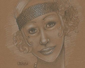 Flapper Sepia Sketch 8x10 Original Drawing Sweet Timeless