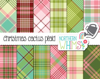 "Plaid Digital Paper - ""Christmas Cactus Plaid"" - pink, green, aqua & red seamless and diagonal plaids - scrapbook paper - commercial use"