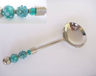 Spoon with lampwork glass beads