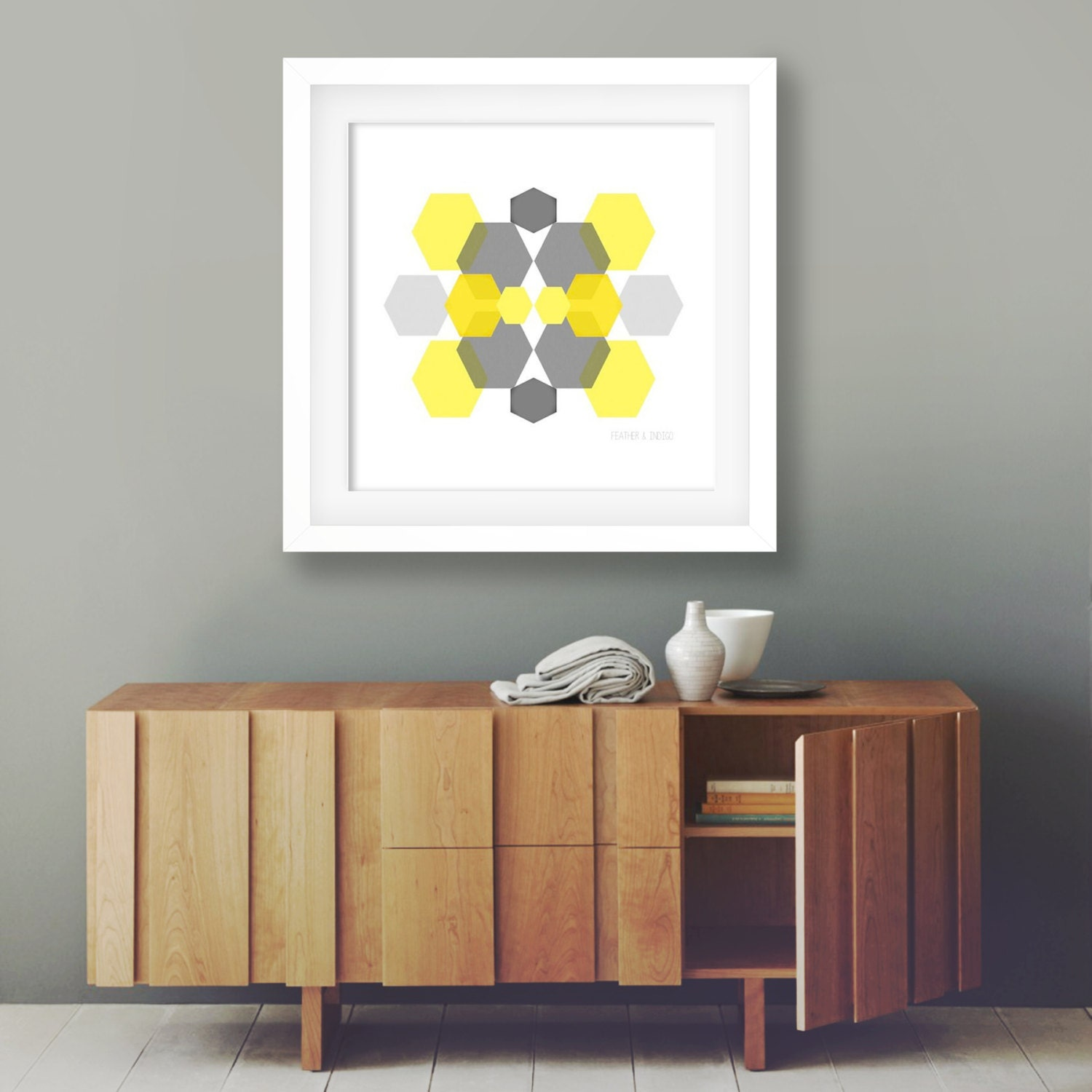 Minimalist art geometric art grey and mustard wall art modern