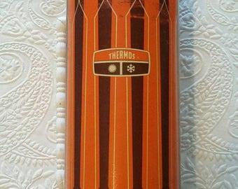 Retro 1971 Thermos, Burnt Orange, Brown, Creme