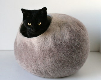 Cat Nap Cocoon / Cave / Bed / House / Vessel - Hand Felted Wool - Crisp Contemporary Modern Design - READY TO SHIP Beige Ombre Cat Bubble