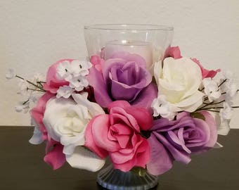 Tricolored roses Candleholder