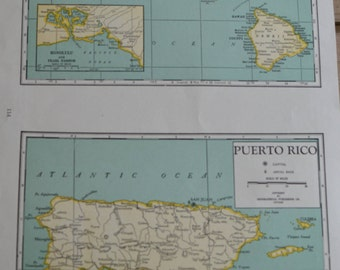 Hawaii Puerto Rico Geographical State Vintage Maps Two In One