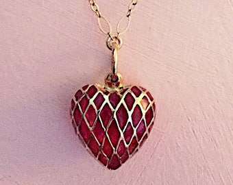 Red heart pendant in 14k Gold cage