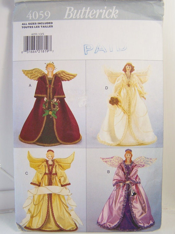 ANGEL TREE TOPPER Table Centerpiece Christmas Craft Sewing
