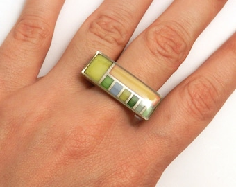 On Sale Was 95.  FLW Grid Ring (OOAK 3D printed enamel ring)