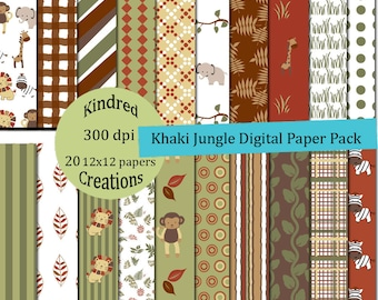 Khaki Jungle Digital Paper Pack 300 dpi 12x12 20 papers For Personal or Small Business Use